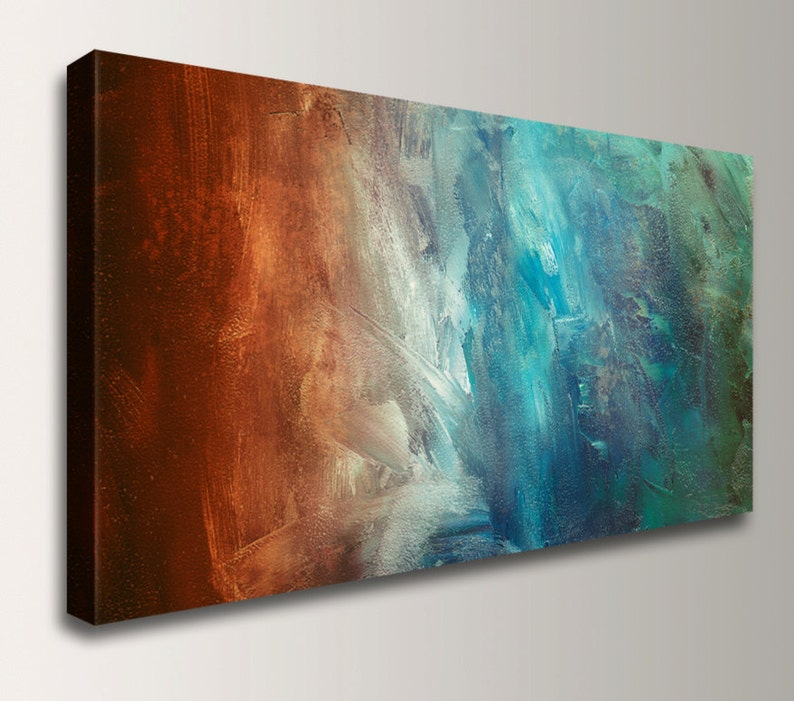 Abstract Painting Large Wall Art Canvas Print Panoramic Home Decor Wall Art Rust Teal Wall Decor By The Modern Art Shop Reflection