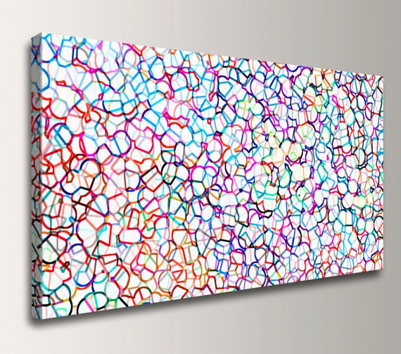 "Modern Art Abstract Panoramic Wall Decor -Colorful Modern Canvas Print - Giclee Print in Rainbow Colors - ""Coalescence"""