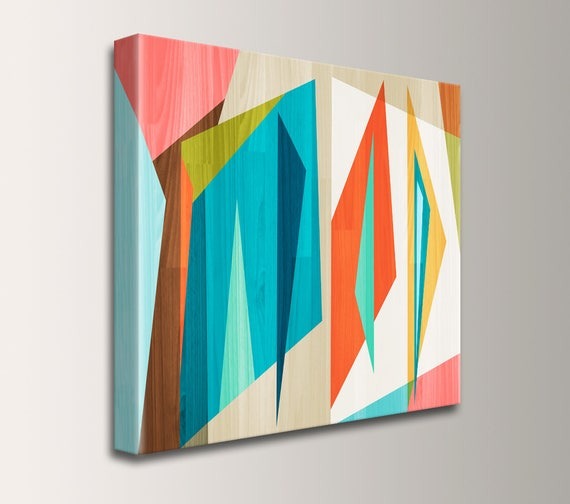 "Geometric Mid Century Modern Wall Art on Canvas Teal and Orange Digital Print Modern Art Retro Large Painting Home Decor  ""Correlation"""
