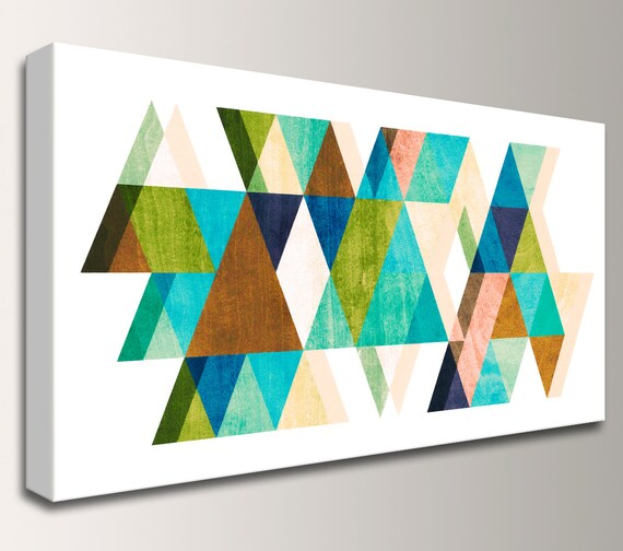 "Mid Century Modern Art - Canvas Print - Teal, Blue, and Brown Colored Triangles - Vintage Modern Wall Decor  - ""Warm Dimensions"""