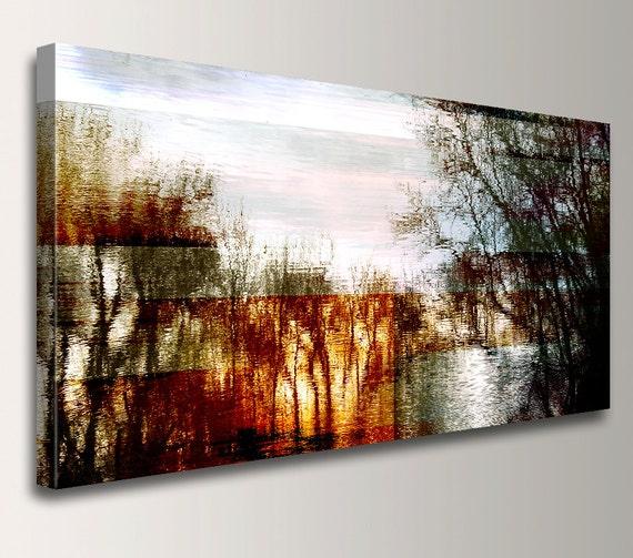 "Abstract Landscape Painting Mixed Media Digital Print on Canvas Print Panoramic Wall Art Mixed Media Art - ""Friday"""