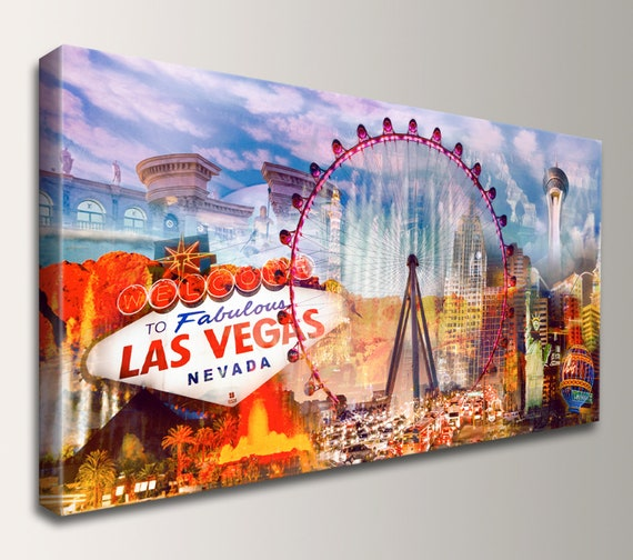 "Las Vegas Print, Canvas Wall Art of Las Vegas Strip, Large Modern City Skyline Collage, Welcome to Las Vegas Sign Travel Poster ""Viva LV"""