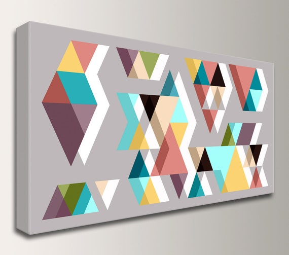 "Canvas Print Wall Art in Grey, Teal, Pink, Yellow and Plumb - Mid Century Modern Geometric Art Print in Many Sizes - ""Adjacent Panorama"""