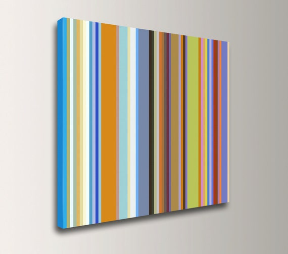 "Modern Art Print Line Art Colorful Stripe Pattern Canvas Print - Modern Wall Decor - ""Band of Colors"""