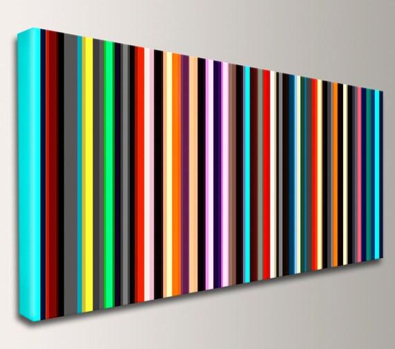 """Stripe Art Panoramic Art Canvas Print Mid Century Modern Art Stripes Line Art Modern Art Wall Art Loft Art Home Decor - """"Parallel"""""""