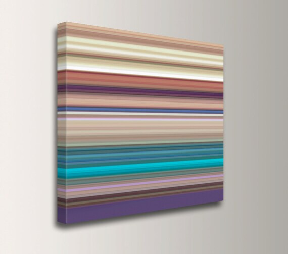 "Canvas Print - Stripe Painting - Turquoise Line Art - Colorful Stripes Printed on Canvas - Canvas Modern Art - "" Taos """