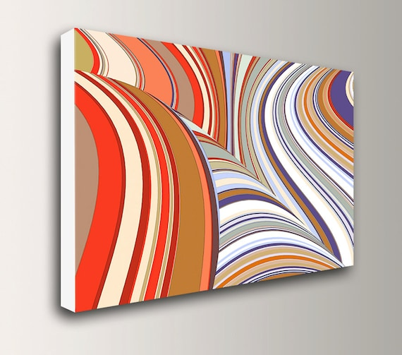 "Mid Century Art - Retro - Stripes - Canvas Print - Red, Purple, White - Abstract Art - Large Wall Art - "" Swivel """