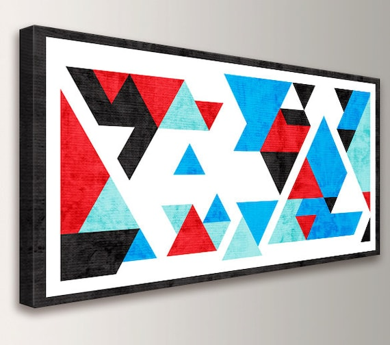"Red and Blue Mid Century Modern Art Geometric Abstract Modern Art Print Red Blue Black Teal Triangles Canvas Print - ""Axiom"""