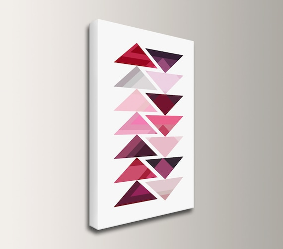"Aztec Print on Canvas, Tribal Inspired Modern Wall Art in Shades of Red and Purple or Blue, Geometric Southwestern Boho Design, ""Procession"""