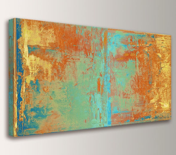 "Large Wall Art Canvas Print Abstract Wall Art Orange Yellow Teal and Green Abstract Painting Extra Large Oversized Canvas Art  ""Cabo"""