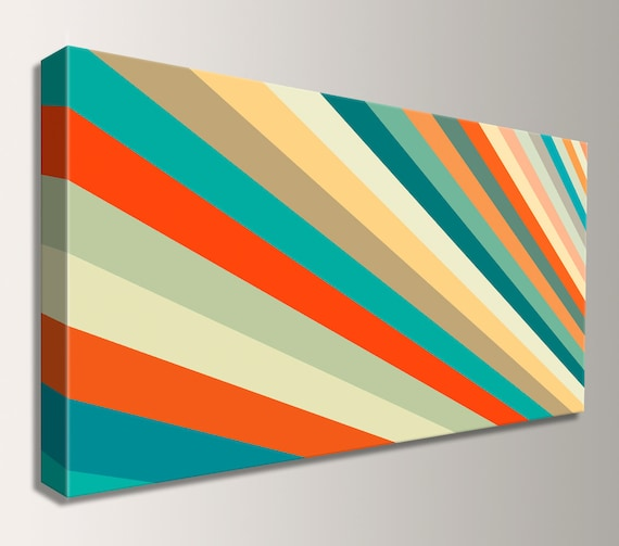 "Mid Century Art Wide Canvas Panoramic Art Retro Decor Modern Art Teal Orange Yellow Stripes Canvas Print Modern Wall Art ""Daybreak"""