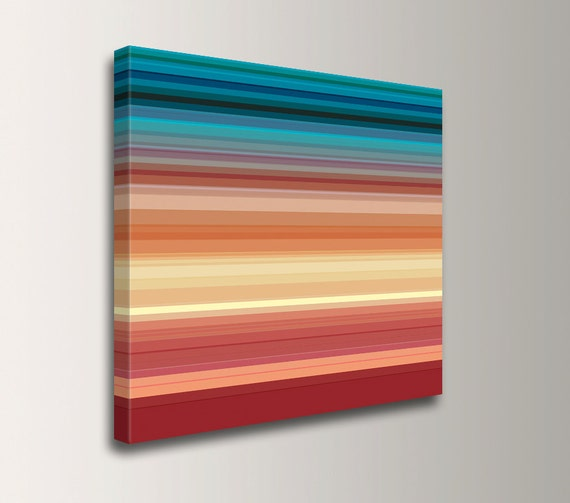 "Turquoise and Orange - Square Stripe Painting - Line Art - Colorful Stripes Printed on Canvas - Large Modern Art - "" Las Cruces """