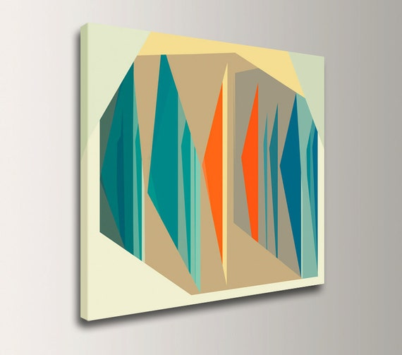 "Mid Century Modern Art, Square Canvas Print Geometric Art Wall Art Teal Orange Mid Century Wall Art by The Modern Art Shop -  ""Multiplex"""