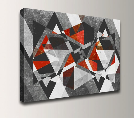 "Modern Art Abstract Painting Canvas Print Black Grey Red Geometric Wall Decor Large Wall Art - ""Vertex"""