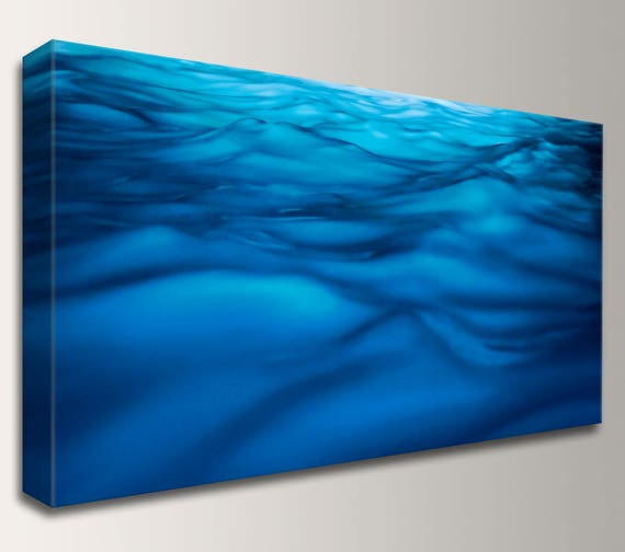 "Canvas Art Panoramic Canvas Blue Wall Art Canvas Wrap Home Decor Nautical Artwork Waves - "" Liquid """