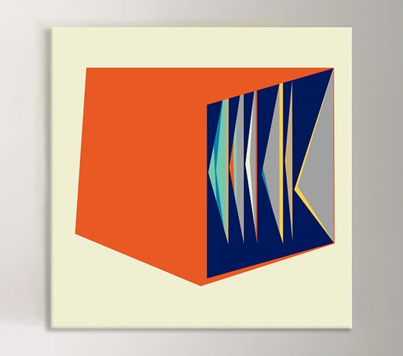 "Orange and Blue Mid Century Modern Art  Fine Art Canvas Print Reproduction Red and Blue Wall Decor -  ""Pleat"""