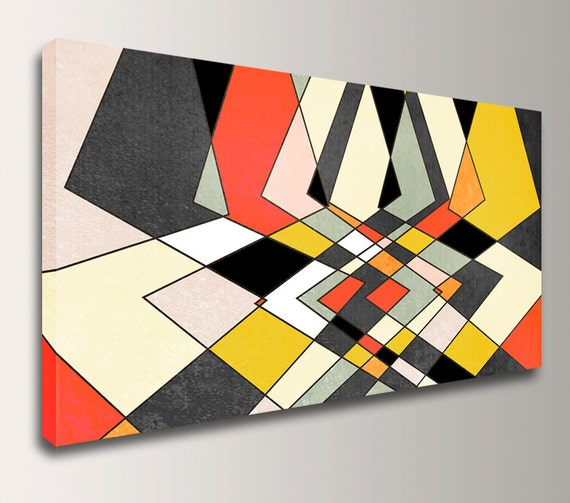 "Modern Art Print Canvas Print Mid Century Modern Geometric Art - Grey, Red, and Yellow Wall Decor - "" Distortion """