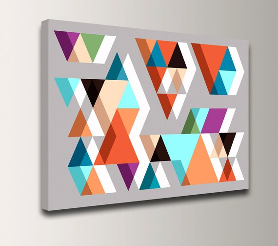"Geometric Wall Art Canvas - Mid Century Print - Abstract Geometric Art - Orange Teal Triangles on Grey Vintage Modern Wall Decor ""Adjacent"""