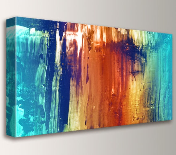 "Abstract Art Canvas Print Modern Wall Art Abstract Painting Teal and Orange Wall Decor ""Synthesis"""