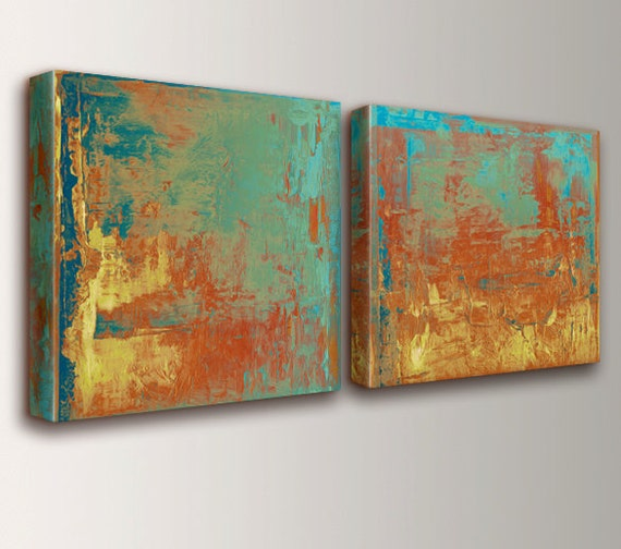 "Teal and Orange Abstract Art Canvas Art Set Orange Wall Art Modern Abstract Paintings Pair of Canvas Prints Wall Art Set "" Cabo """