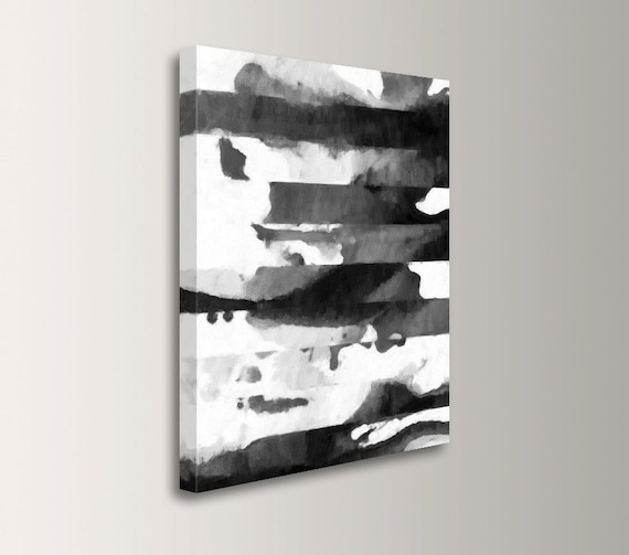 Modern Abstract Painting Canvas Print Black White Grey Large Oversized Wall Art Acrylic Painting Print Modern Art Quadrant