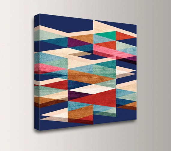 "Blue Mid Century Wall Art Print Square Canvas Print with Blue Red Cream Teal Triangle Pattern Geometric Art ""Blue Symmetry"""