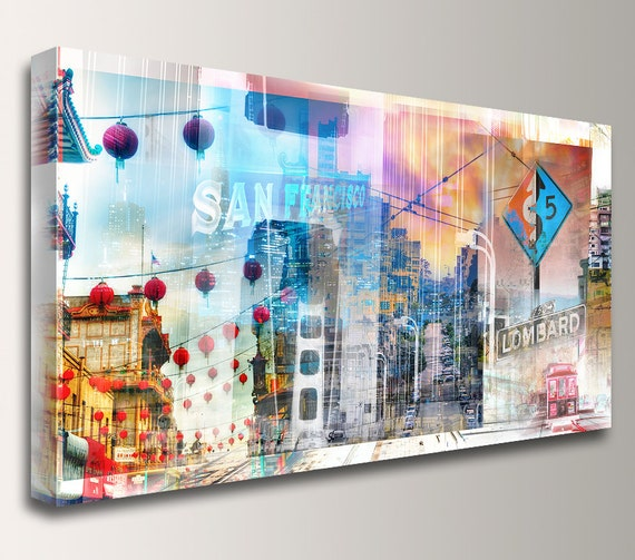 "San Francisco Skyline San Francisco Art Cityscape Canvas Print City Skyline Collage - "" California Dreaming """