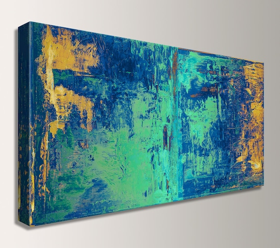 "Wall Art Large Abstract Painting Canvas Print Modern Home Decor for Wall in Kitchen or Bedroom in Blue Green Yellow Abstract Art  ""Cabana"""