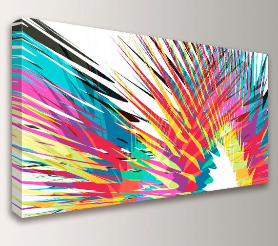 "Modern Abstract Art  Colorful Canvas Print Panoramic Loft Art Oversized Wall Art Modern Wall Decor ""Kapoooow"""