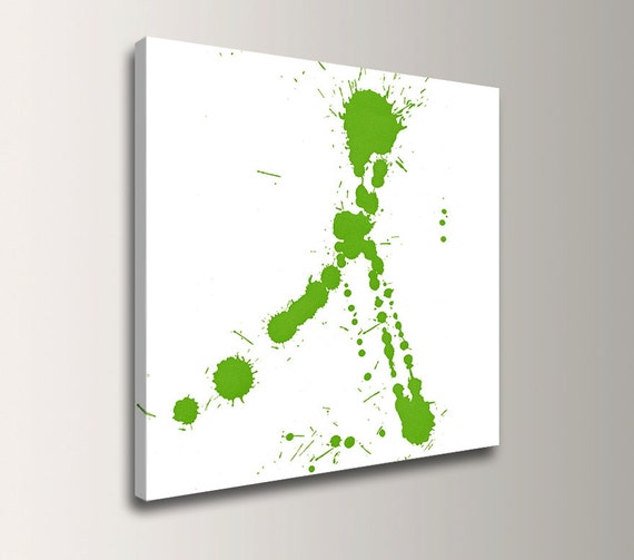 "Lime Green Art Modern Wall Art Paint Splatter Modern Canvas Print Abstract Splat Art - ""Fling"""