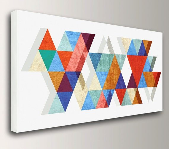 "Mid Century Modern Art Geometric Print Canvas Print Mid Century Painting Retro Mid Century Wall Art Available Up to 3x6 Feet ""Stagger"""