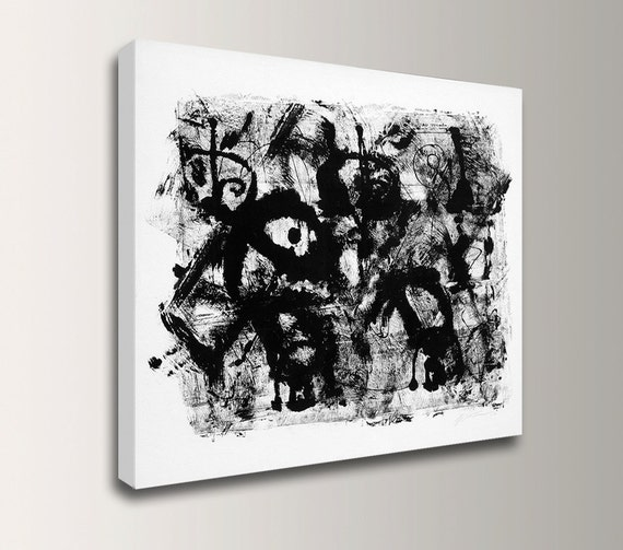 """Abstract Painting - Black and White - Expressionist Painting - Canvas Print - """"Tribal"""""""