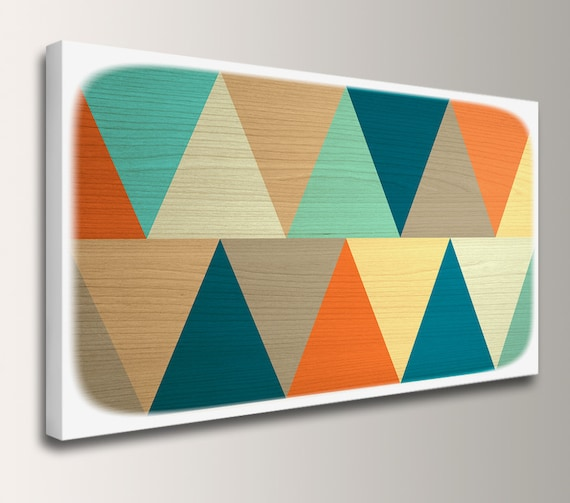 "Retro Wall Art Print Mid Century Modern Print of Original Painting for the Home Teal Orange Yellow Triangles Geometric Wall Art ""Apex"""