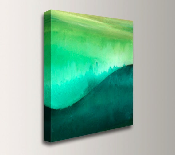 "Zen Watercolor Painting - Canvas Print - Green Abstract Wall Decor - Emerald Green Canvas - ""Hanzo Hill"""
