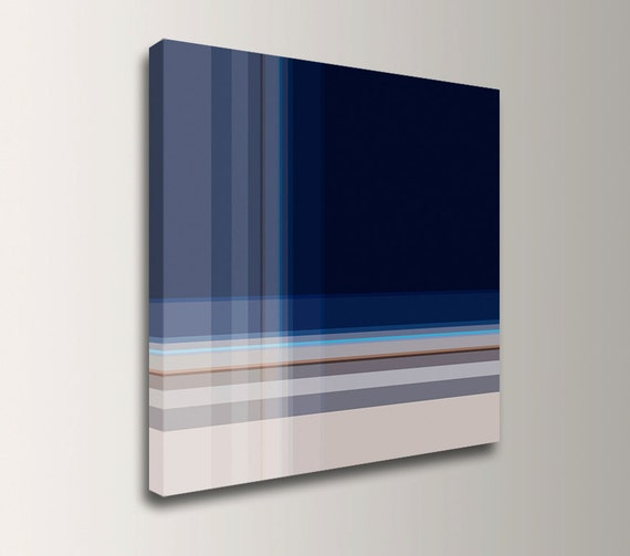 "Navy Blue Wall Art Geometric Wall Art Minimalist Art Canvas print Abstract Art Print Modern Wall Art Square Canvas Print ""Inlay"""