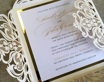 Laser cut wedding invitations etsy gold foil and ivory laser cut wedding invitation with custom belly band filmwisefo