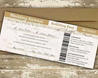 Rustikale Ziel Hochzeit Einladung / Boarding Pass Hochzeitseinladung /  Flugzeug Ticket Einladung / Cruise Schiff Ticket