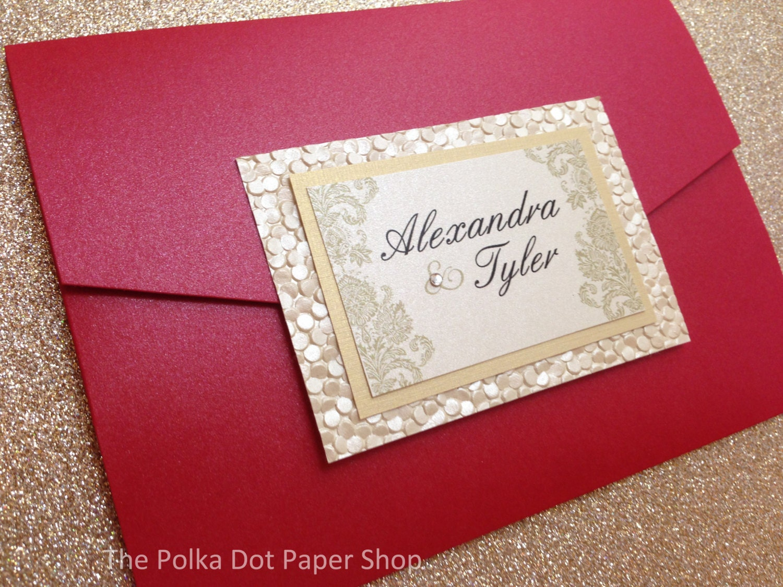 Red and Gold Pocketfold Wedding Invitation / Pocket Fold | Etsy