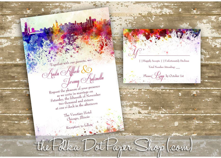 Atlanta Wedding Invitations: Chicago Graffiti Watercolor Skyline Wedding Invitation