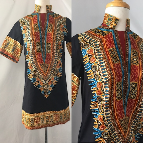 1960s Dashiki Mini Dress