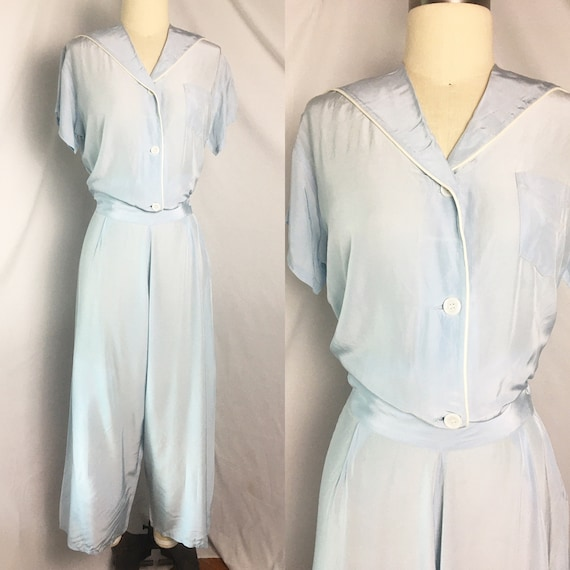 1940s Pale Blue Pajamas Loungewear