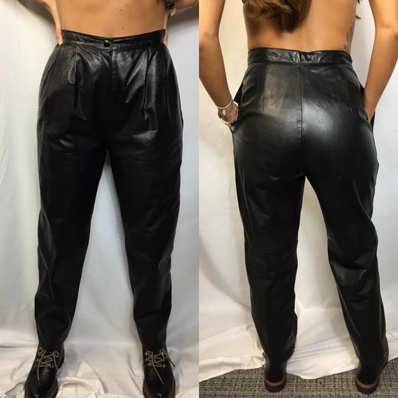90/'s Scooter Leather Trousers Size 38 1990/'s Black leather Pants