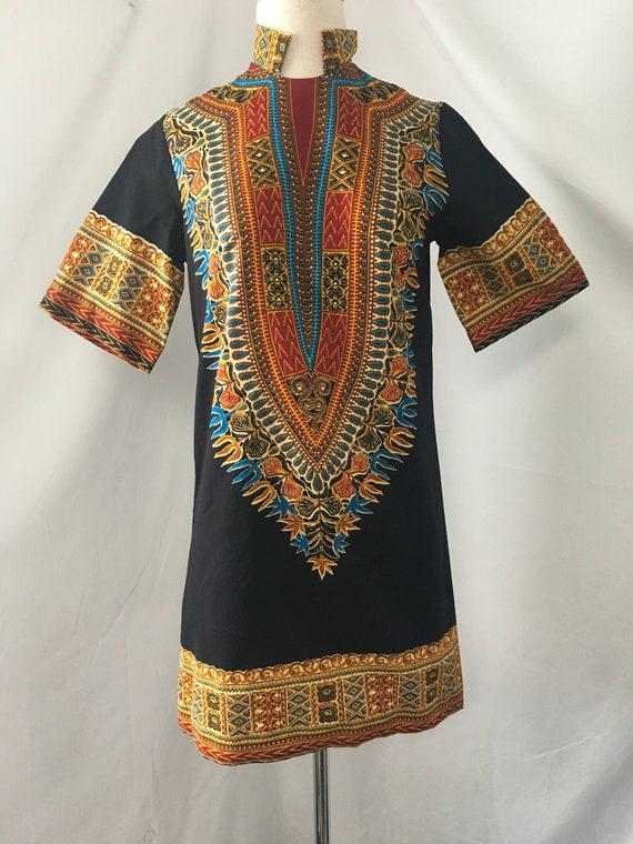 1960s Dashiki Mini Dress - image 2