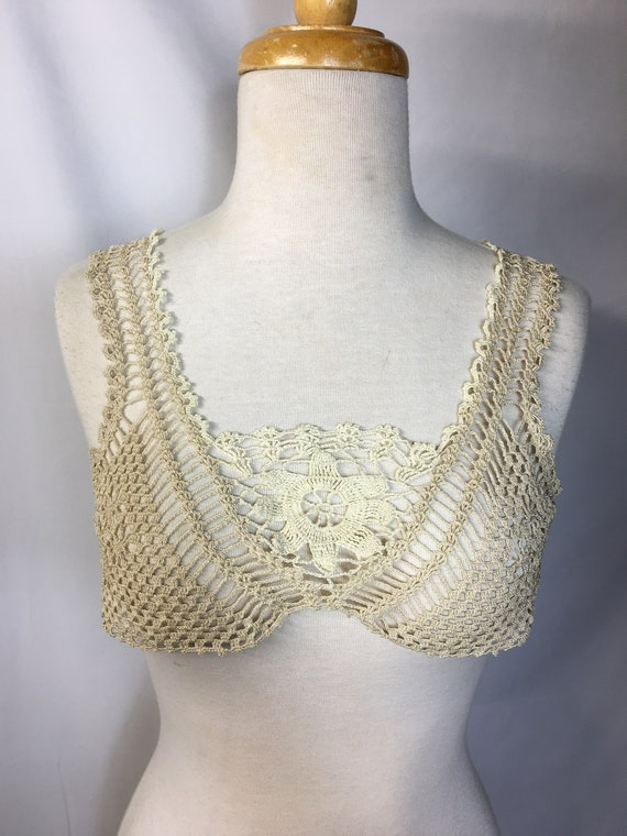 1920s Ivory Crochet Bralette Camisole Undergarment