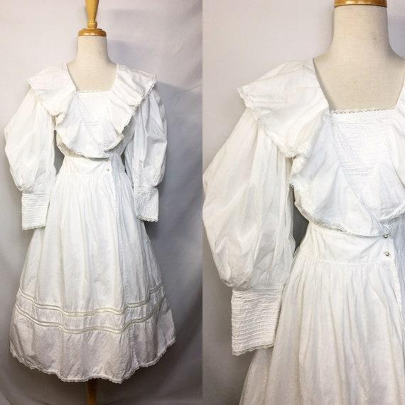 Romantic 1980s Monet Painting Style Cotton Dress