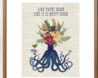 Octopus Print, Octopus Wall Art, Octopus Poster, Nautical Print, Octopus Wal Art Decor, Octopus Wall Decor, Bathroom Decor, Blue Octopus,