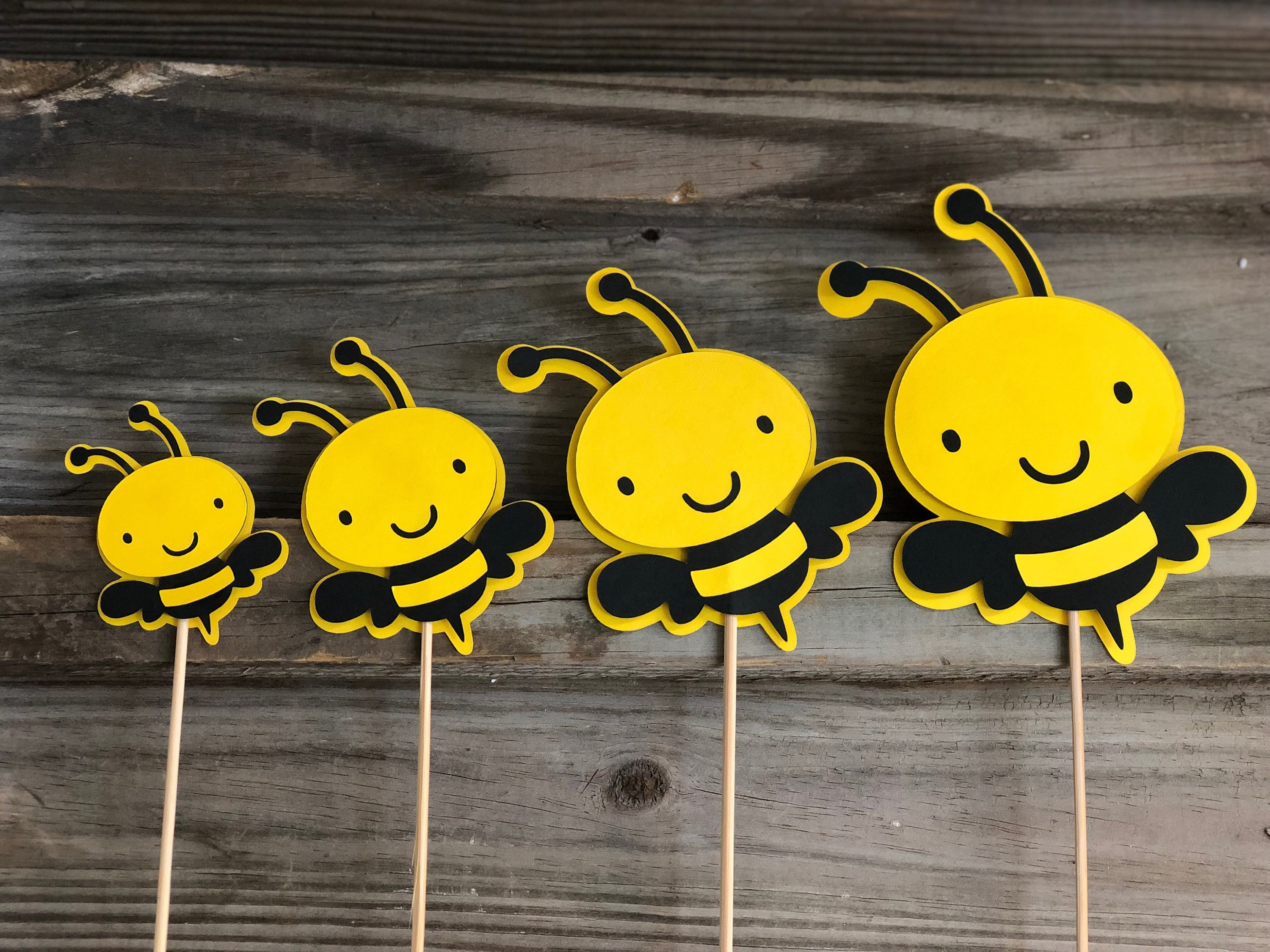 Set of 6 Yellow Black /& Bright Blue BUMBLE BEE Decorations On Wooden Sticks-Birthday PartyBaby Shower-Table Decorations Boy Bee 4 Sizes