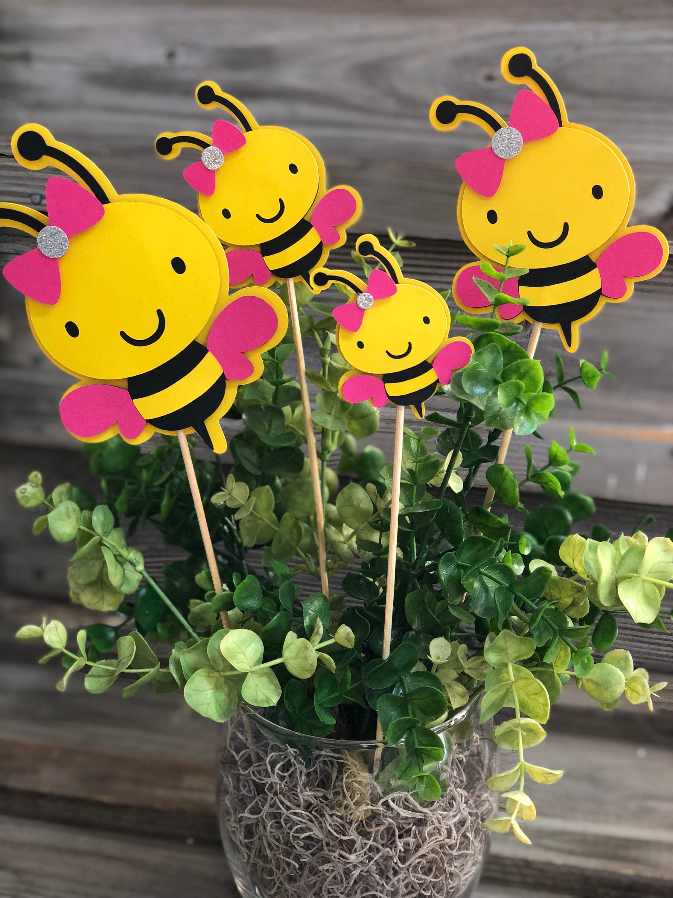 Set Of 6 Yellow Black And Fuchsia Bumble Bee Decorations On
