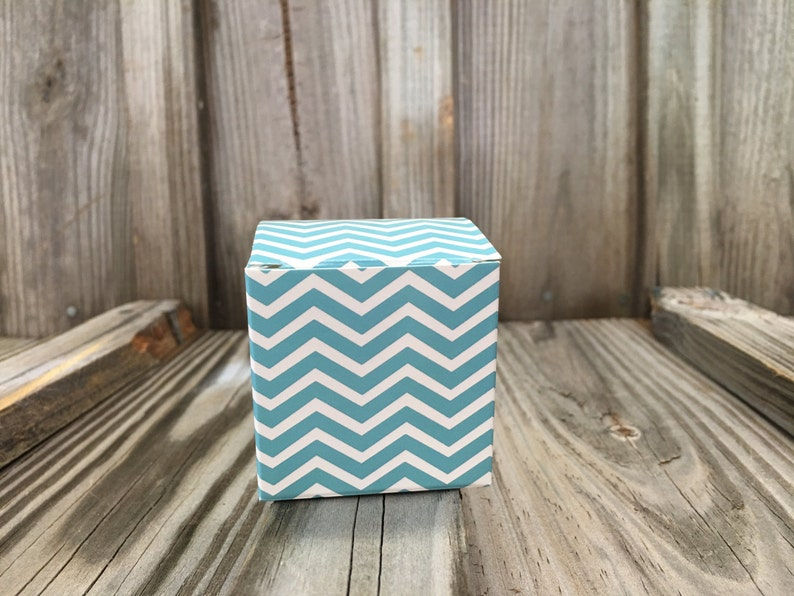 **SALE** Baby ShowerBirthday PartyWedding-GiftsDecorationsFavors Set of 14-2x 2x 2 TealAqua Chevron Printed Favor Treat Boxes