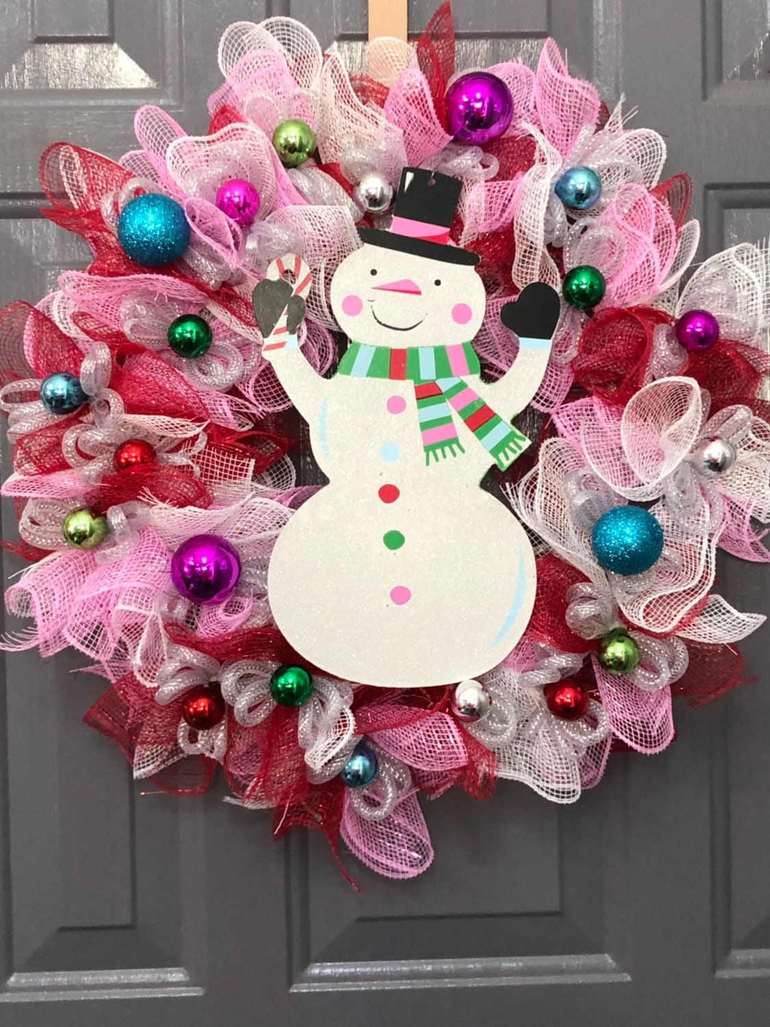 Snowman Wreath 14 Wire Wreath Form Red Pink And White Deco Mesh Snowman Sign Red Blue Silver Green Pink Ornaments Winter